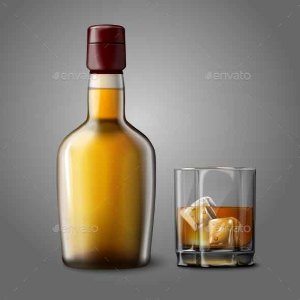 GraphicRiver Blank Bottle with Glass of Whiskey 9686831