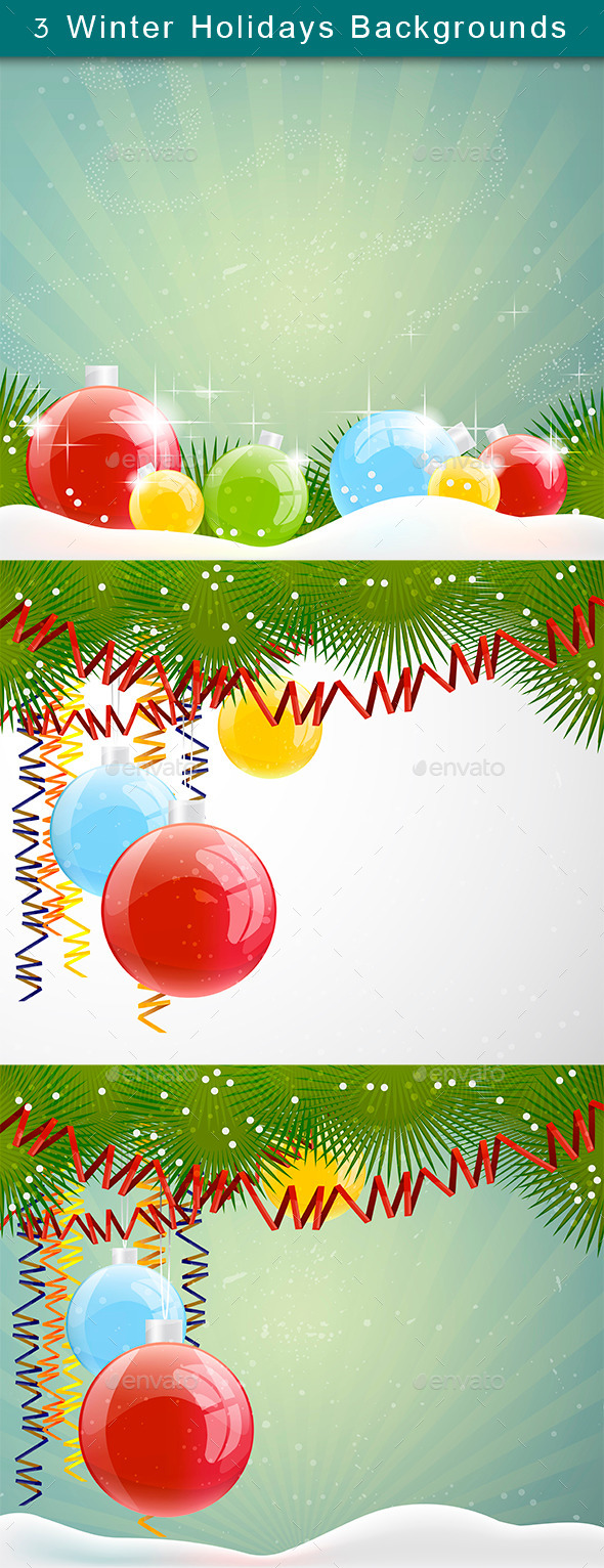 GraphicRiver Winter Holidays Backgrounds Set 9687065