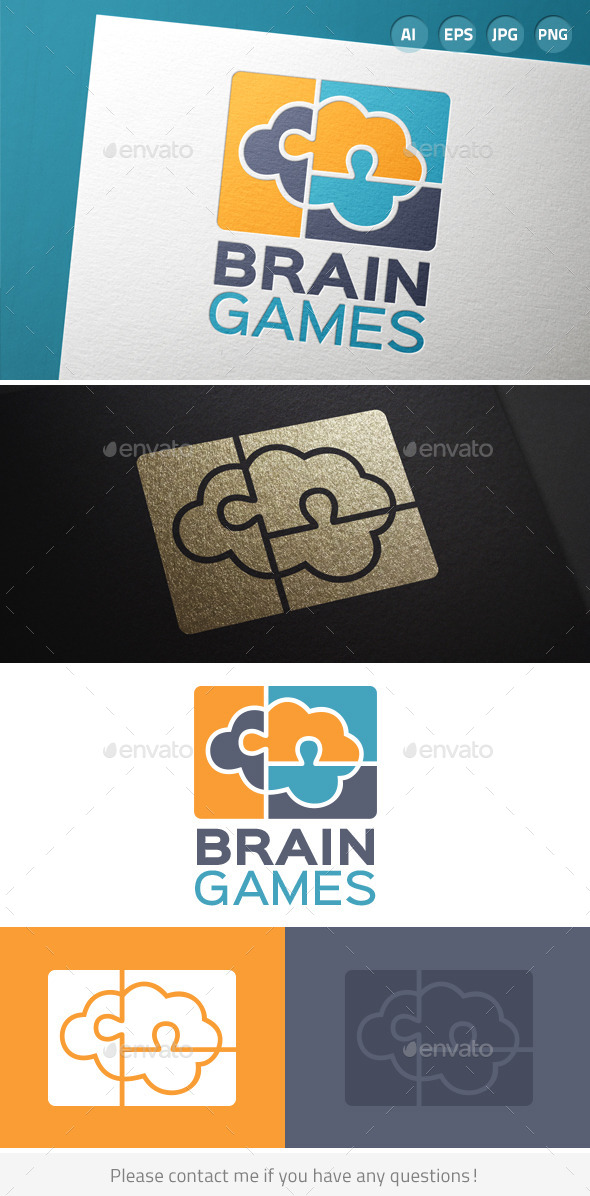 GraphicRiver Brain Games Puzzle Logo 9687085