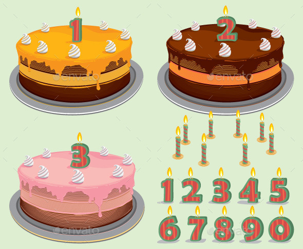 GraphicRiver Birthday Cake with Number Candles 9687154