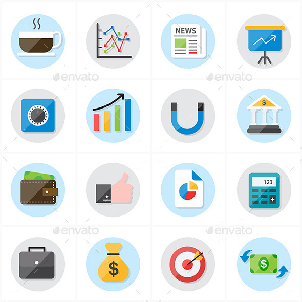 GraphicRiver Flat Icons For Business and Finance 9688242