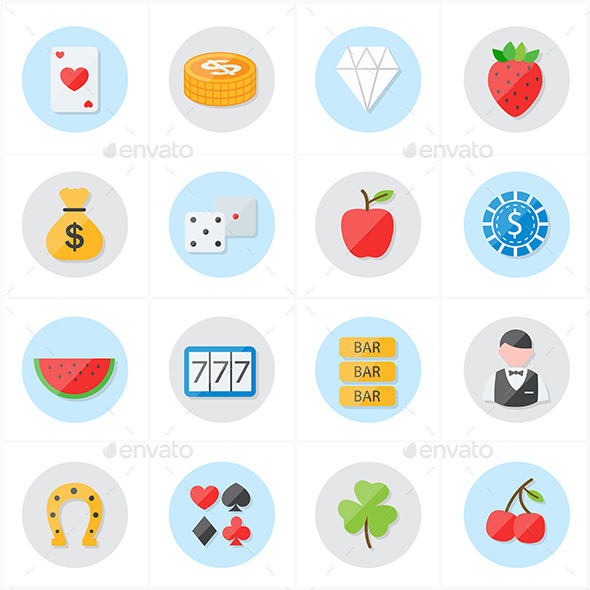 GraphicRiver Flat Icons For Casino Icons and Game Icons Vector 9688721