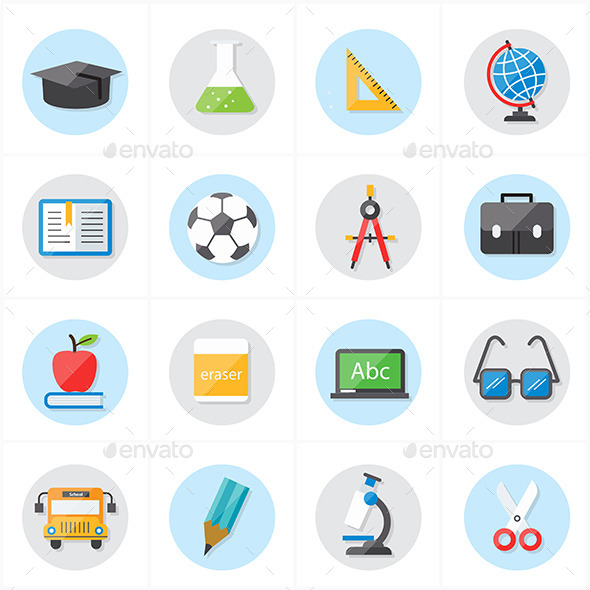 GraphicRiver Flat Icons For Education and School 9688940