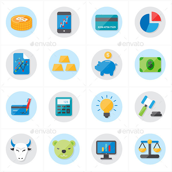 GraphicRiver Flat Icons For Finance Business 9688953