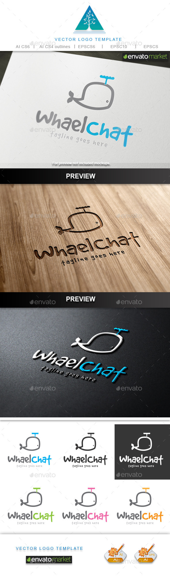 GraphicRiver Whale Chat Logo 9689638