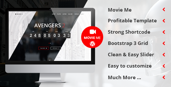 Movie Me One Page Responsive WordPress Theme