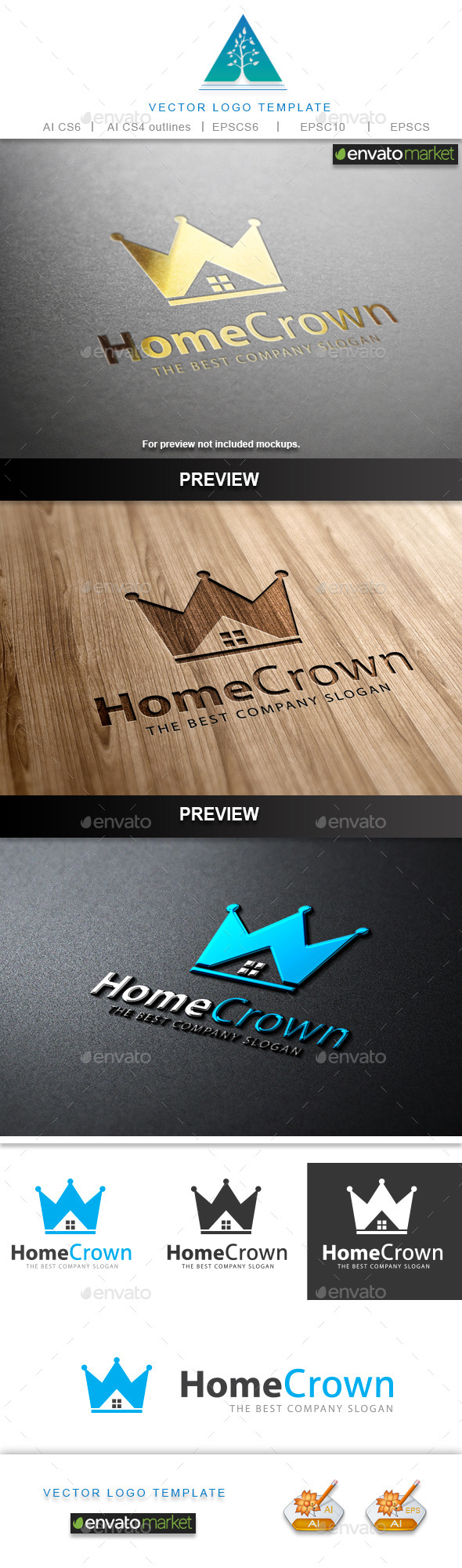 GraphicRiver Home Crown Logo 9689876
