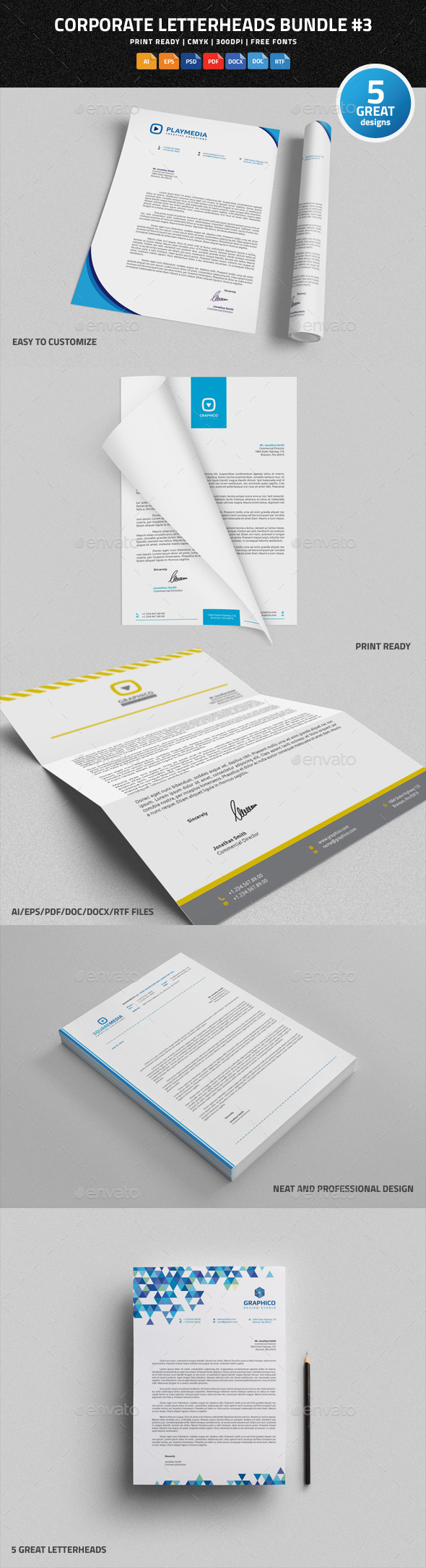 GraphicRiver Corporate Letterheads Bundle #3 9689983
