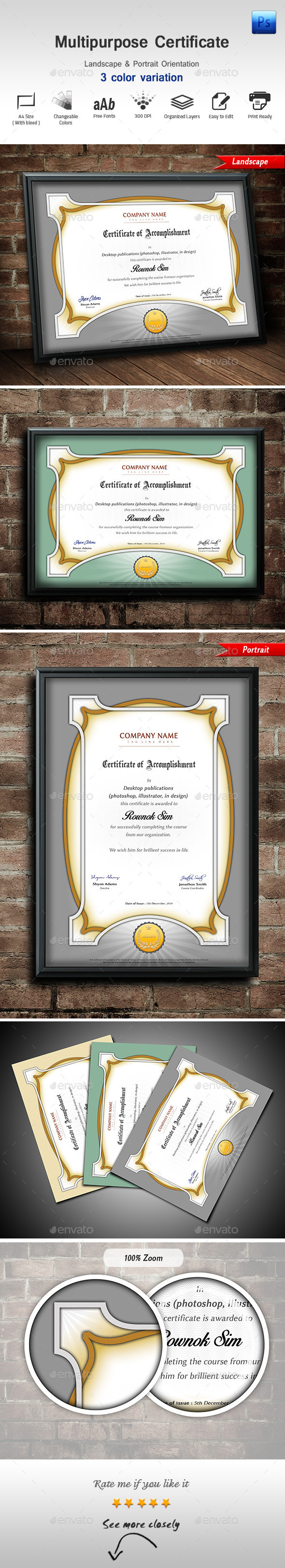 GraphicRiver Multipurpose Certificate 9689985