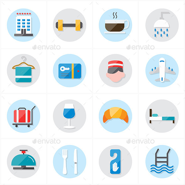 GraphicRiver Flat Icons For Hotel and Travel Vector 9690449