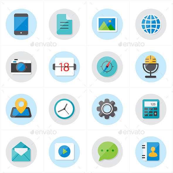 GraphicRiver Flat Icons For Media and Communication 9690587