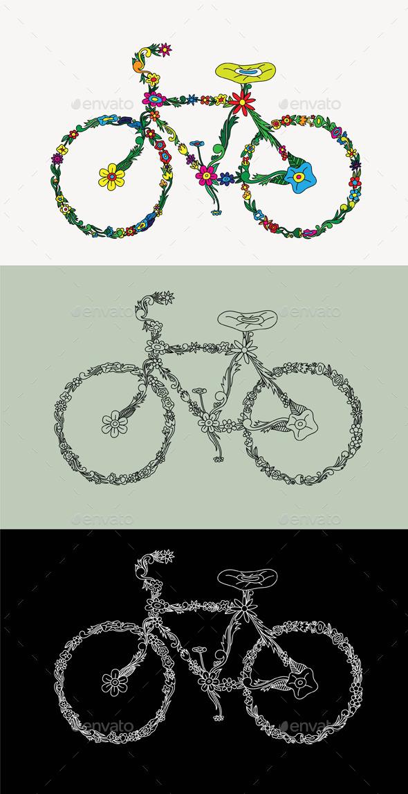 Bike Floral Ornament