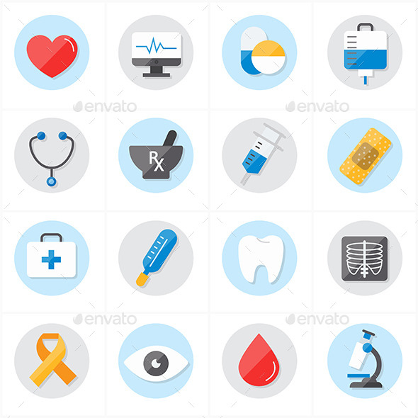GraphicRiver Flat Icons For Medical and Healthcare 9690712