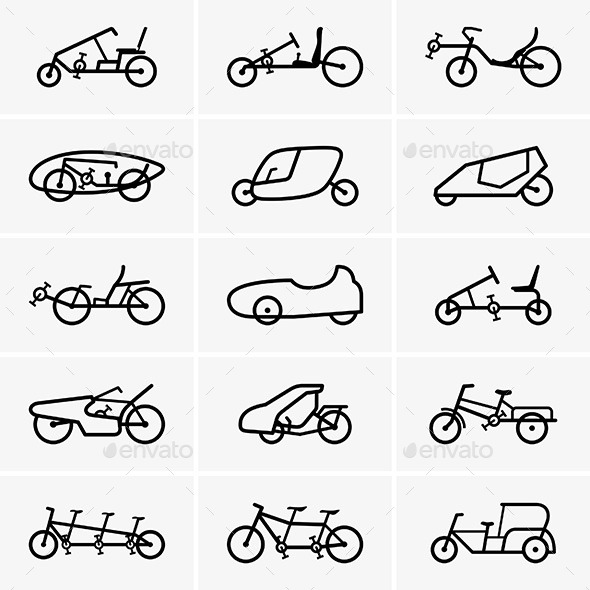 GraphicRiver Bicycle Cars Icons 9691005