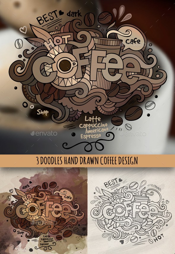 GraphicRiver Coffee Doodles Designs 9691344
