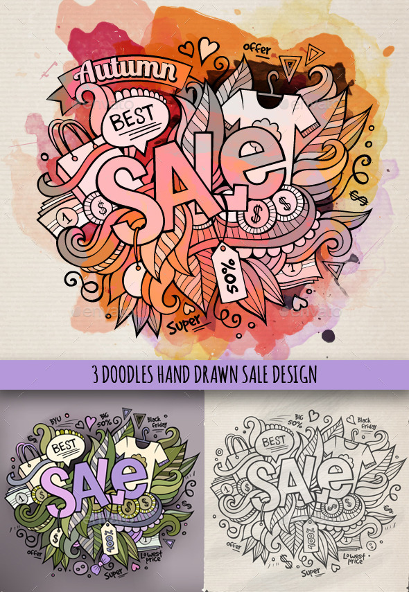 GraphicRiver Sale Doodles Designs 9691427