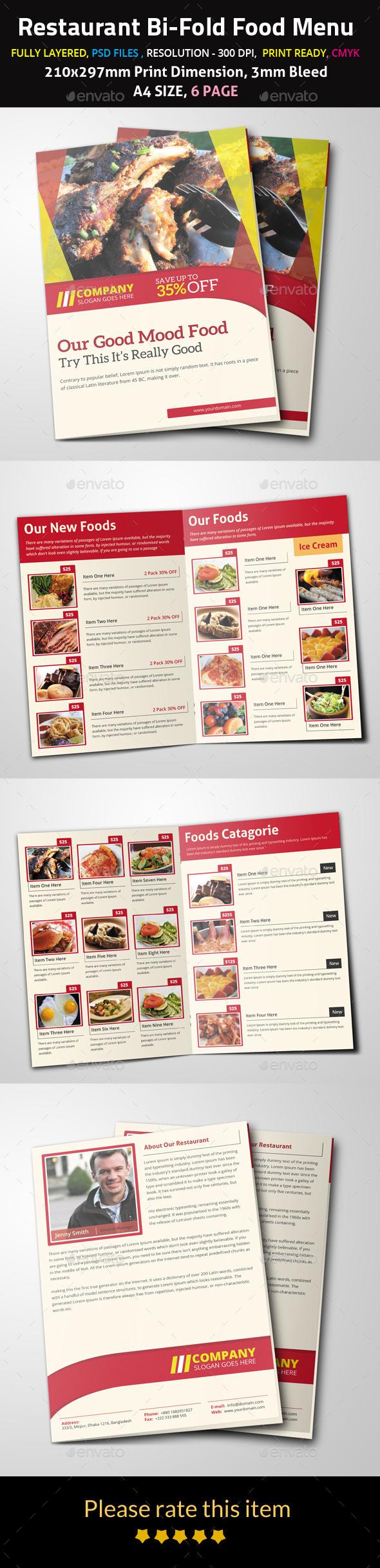 GraphicRiver Restaurant Bi-Fold Food Menu 9691639