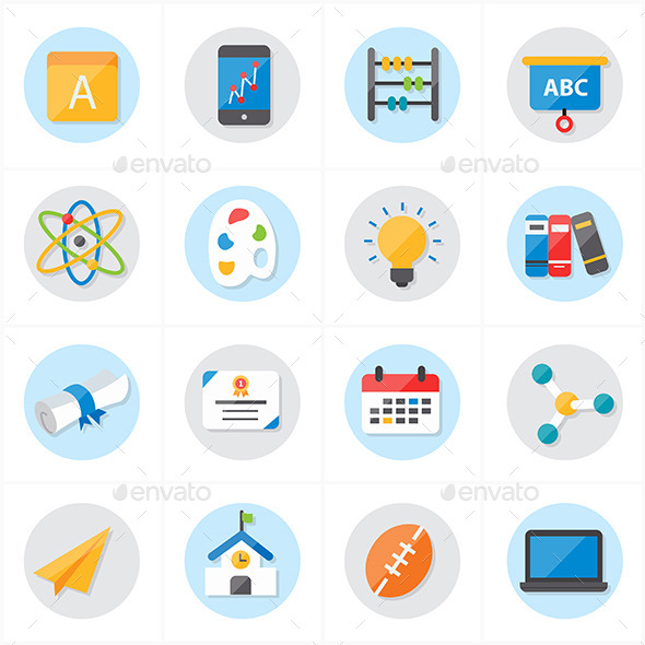GraphicRiver Flat Icons For School and Education Vector 9692219