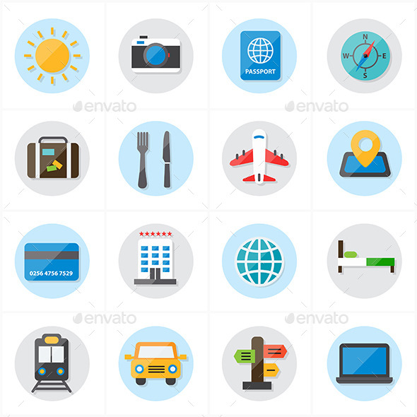 GraphicRiver Flat Icons For Travel and Transport Vector 9692320