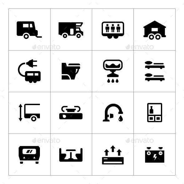 Set Icons of Camper Caravan Trailer