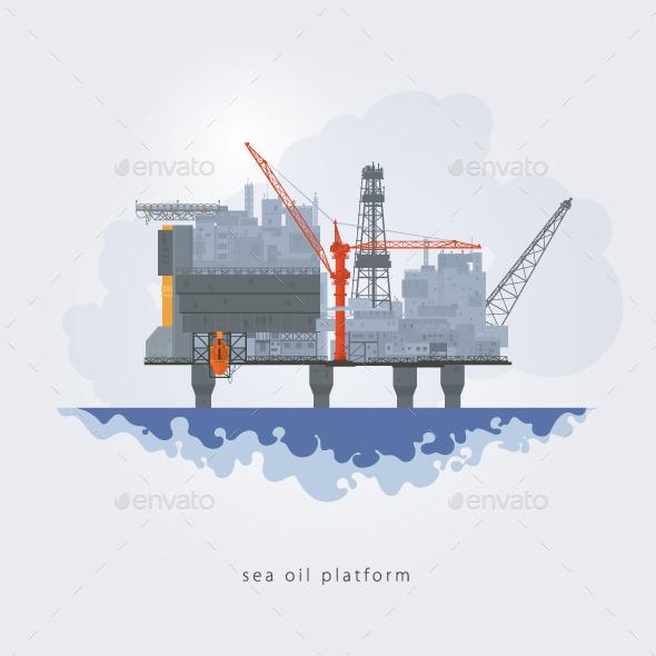 GraphicRiver Sea Oil Platform 9692762