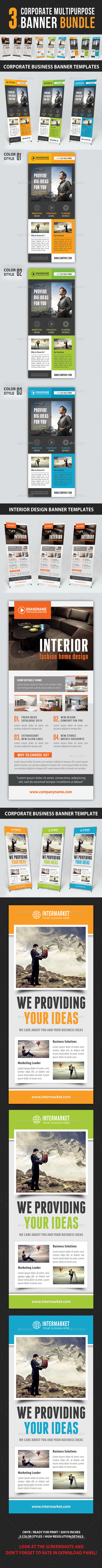 GraphicRiver 3 in 1 Corporate Multipurpose Banner Bundle 9648913