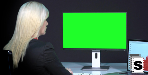 Female Working With Green Screen