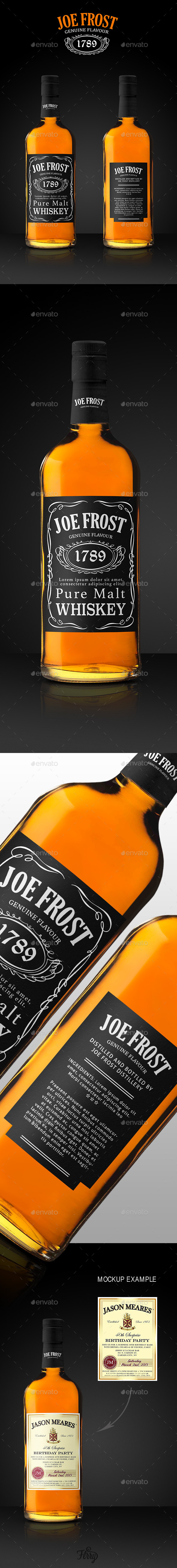 GraphicRiver Premium Whiskey Bottle Mockup 9693091
