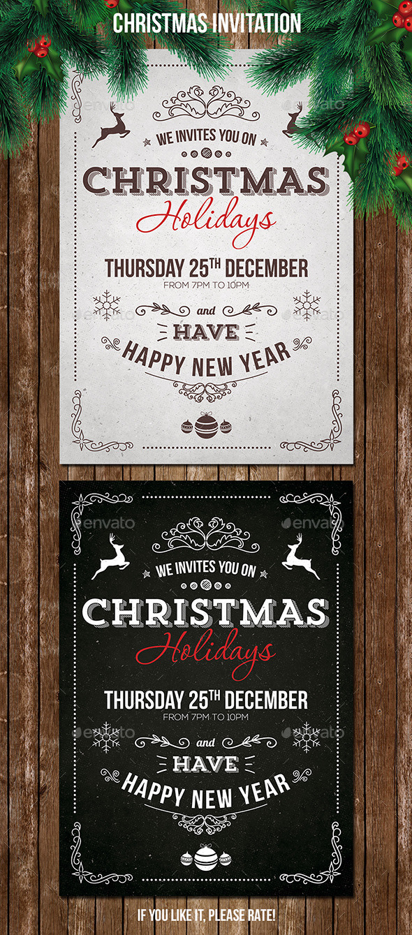 GraphicRiver Vintage Christmas Invitation 9693530