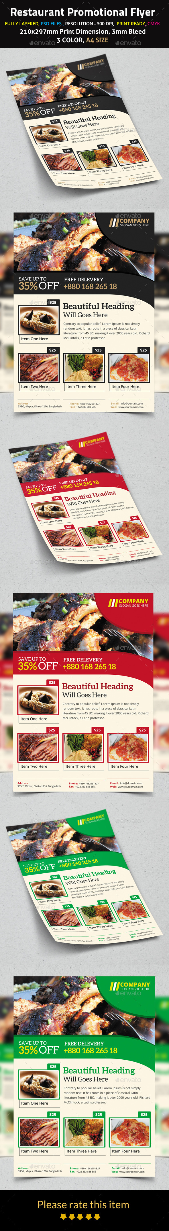 GraphicRiver Restaurant Promotional Flyer 9693721