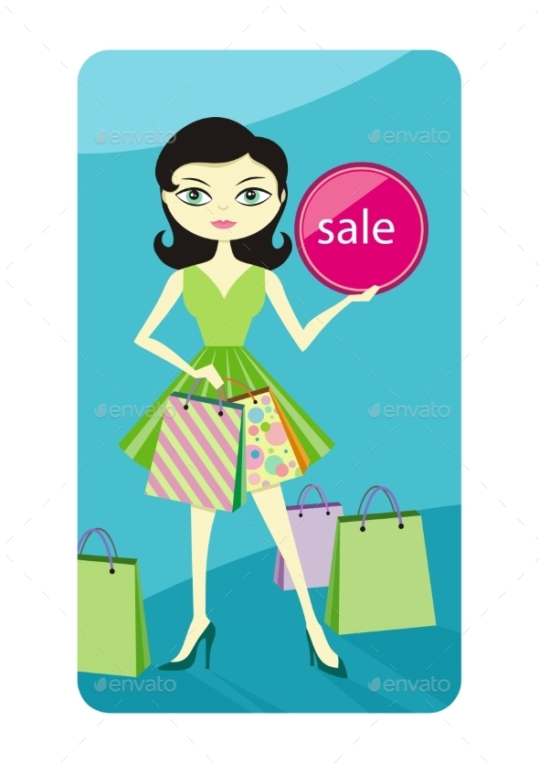 GraphicRiver Girl Showing Shopping Bag 9693940