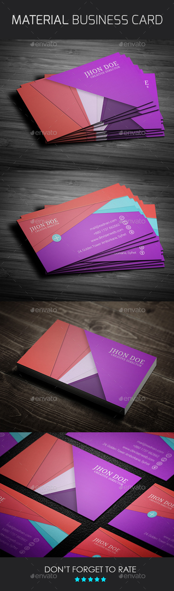 GraphicRiver Material Design Business Card Template 9693988