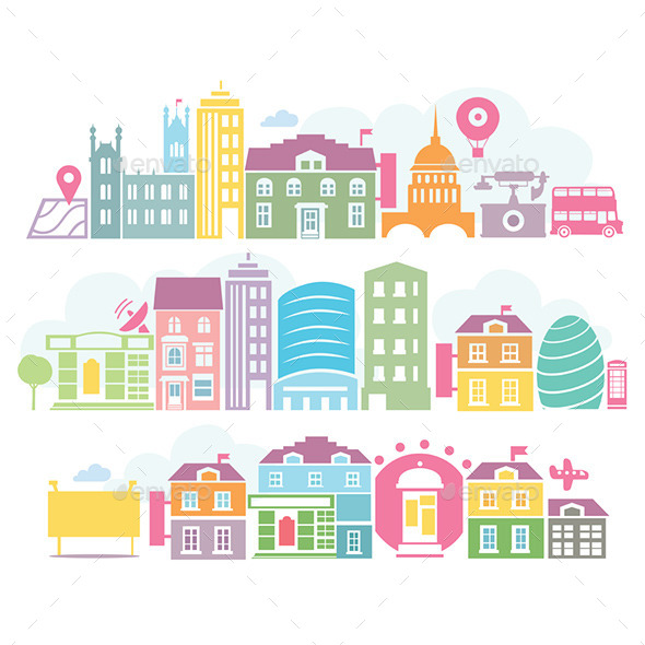 GraphicRiver City London Colorful Silhouettes of Buildings 9694000