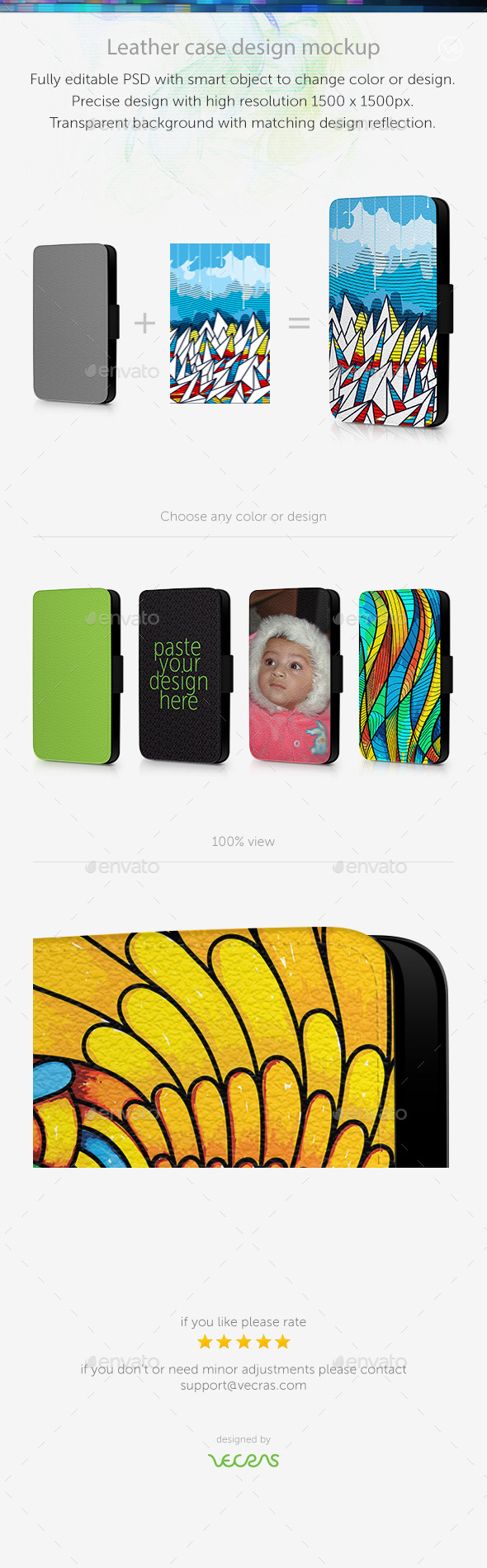GraphicRiver Leather Mobile Case Design Mockup 9694019