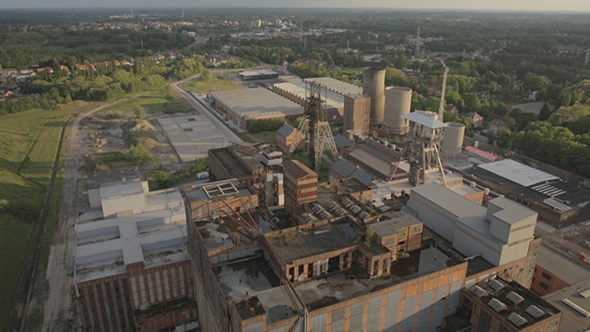 VideoHive Abandoned Mining Factory Aerial Drone 9694335