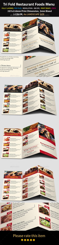 GraphicRiver Tri Fold Restaurant Foods Menu 9694588