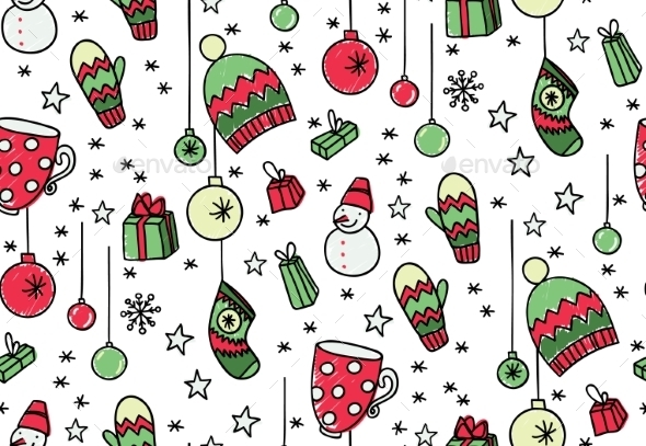 GraphicRiver Hand Drawn New Year Seamless Pattern 9695159