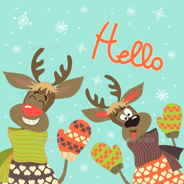 GraphicRiver Reindeer Say Hello 9695160