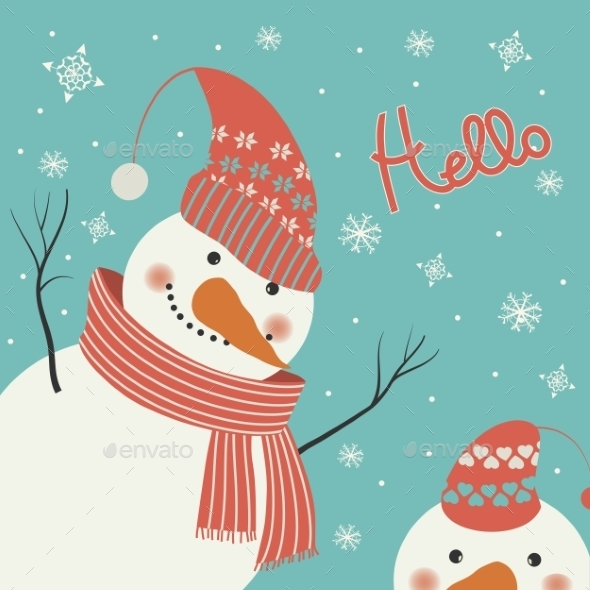 GraphicRiver Snowman Says Hello 9695163