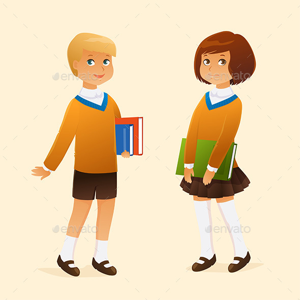GraphicRiver Kids in School Uniform 9695497
