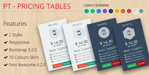 CodeCanyon PT Pricing Tables Bootstrap 3.2.0 9695853