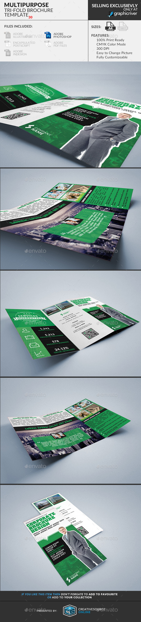 GraphicRiver Trifold Brochure 30 Multipurpose 9695935
