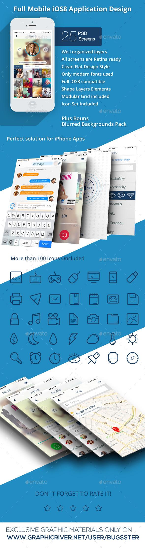 GraphicRiver OS8 Phone Plus Full Mobile App UI Kit Design 9695957