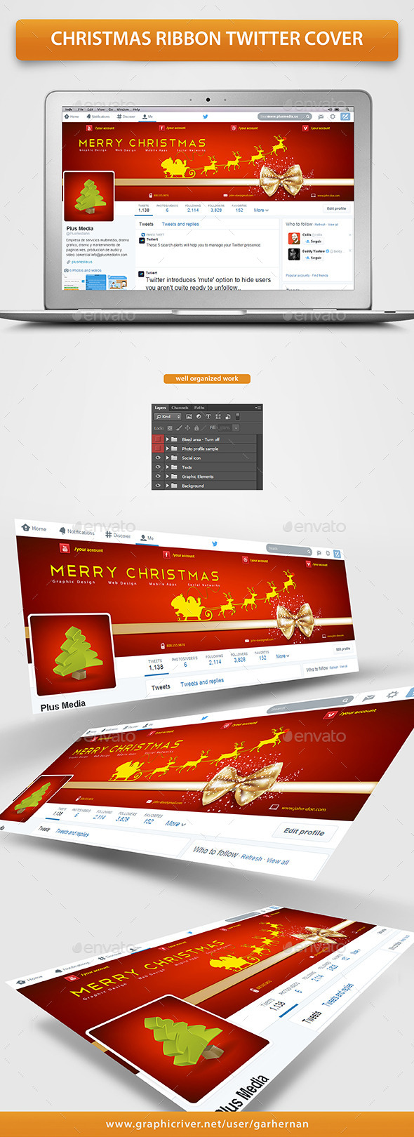 GraphicRiver Christmas Ribbon Twitter Cover 9696088