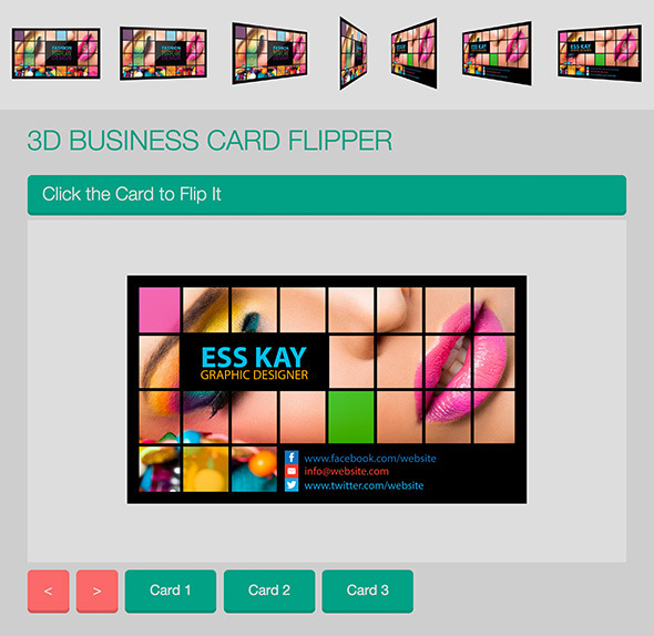CodeCanyon 3D Business Card Flipper 9696148