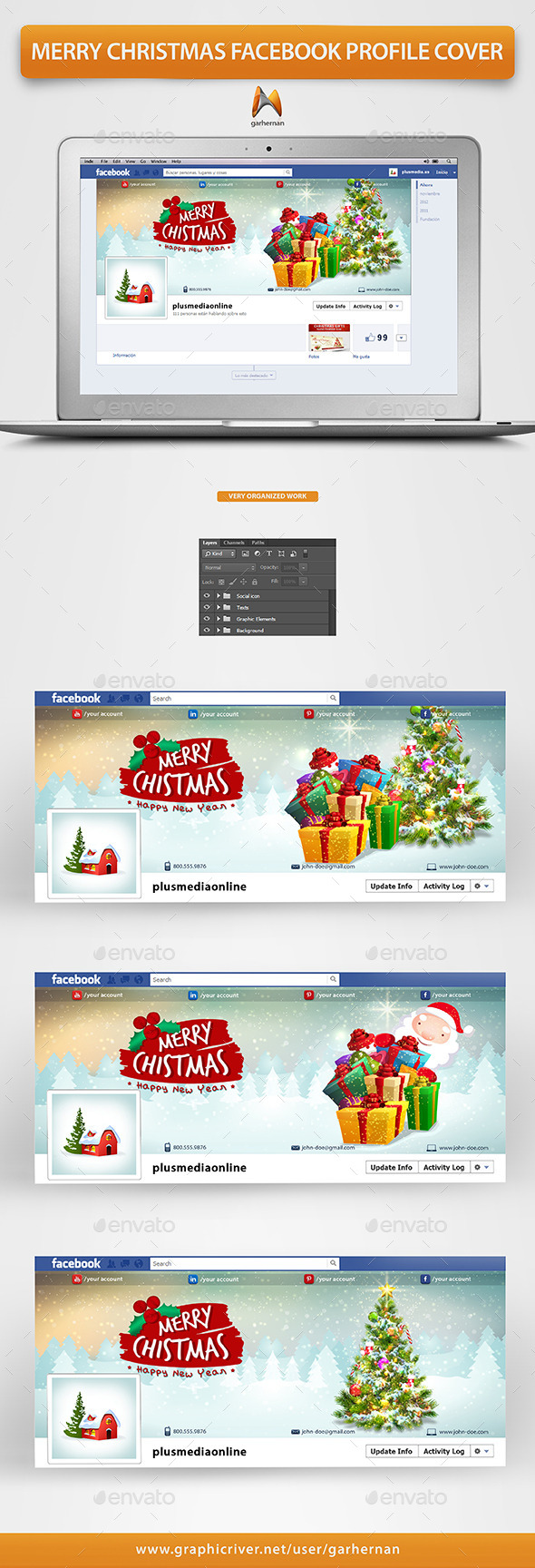 GraphicRiver Merry Christmas Facebook Profile Cover 9696381