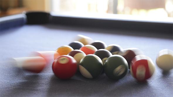 VideoHive Breaking Billiard Balls On Pool Table 9697418