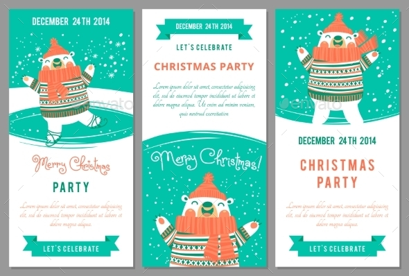 Christmas Party Invitations in Cartoon Style