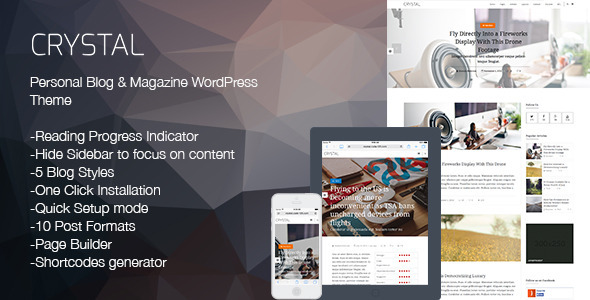 ThemeForest Crystal Personal Blog Wordpress Theme 9649829