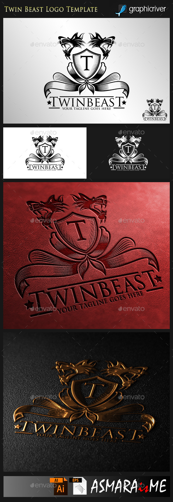 GraphicRiver Twin Beast Royal Predator Logo 9697841